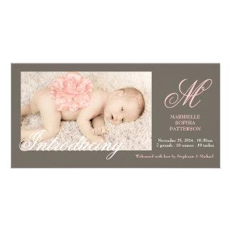 Anúncio elegante do nascimento do bebé da foto cartão com fotos