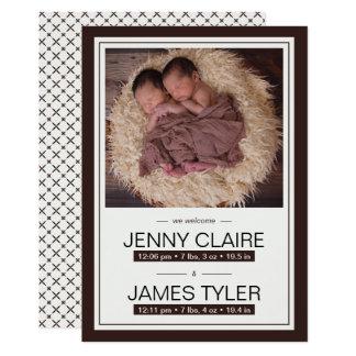 Anúncio elegante do nascimento do bebê dos gêmeos