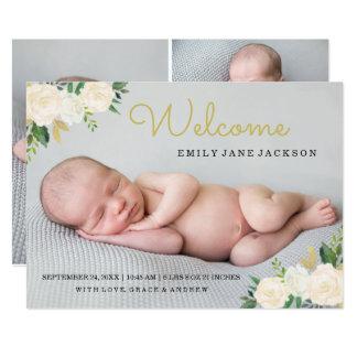 Anúncio elegante floral do nascimento da foto do