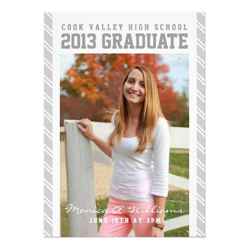 Anúncio escolar listrado de prata da graduação convites personalizado