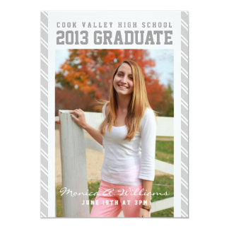 Anúncio escolar listrado de prata da graduação convite 12.7 x 17.78cm