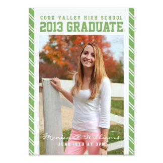 Anúncio escolar listrado verde da graduação convite 12.7 x 17.78cm