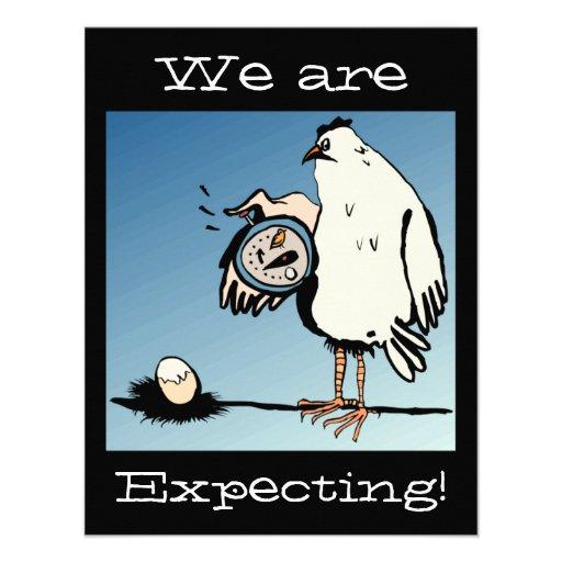 Anúncio expectante do bebê da galinha convite personalizados