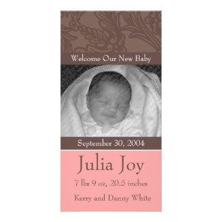 Anúncio feito sob encomenda cor-de-rosa elegante cartão com foto