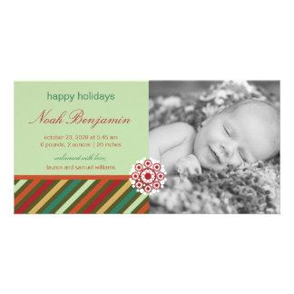 Anúncio festivo do nascimento da foto do feriado cartão com foto