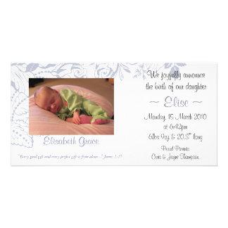 Anúncio floral 4x8 do bebê do Lilac Cartao Com Foto Personalizado