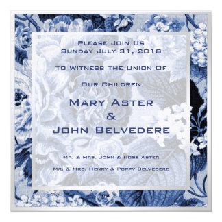 Anúncio floral botânico azul do convite