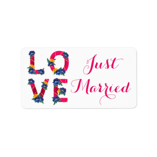 Anúncio floral cor-de-rosa do casamento do amor do etiqueta de endereço