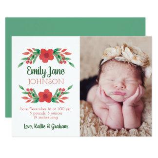 Cartão Anúncio floral do nascimento da foto do Natal
