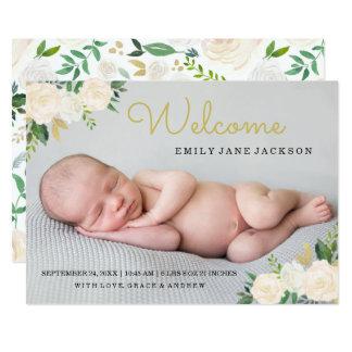 Anúncio floral do nascimento da foto do ouro