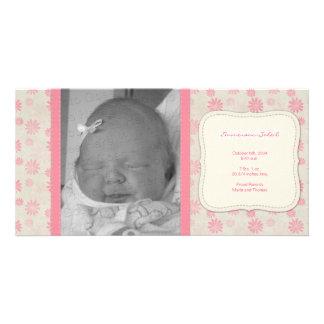 Anúncio floral do nascimento do vintage doce cartão com foto