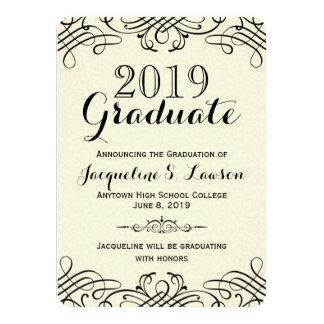 Anúncio formal clássico ornamentado da graduação convite 11.30 x 15.87cm