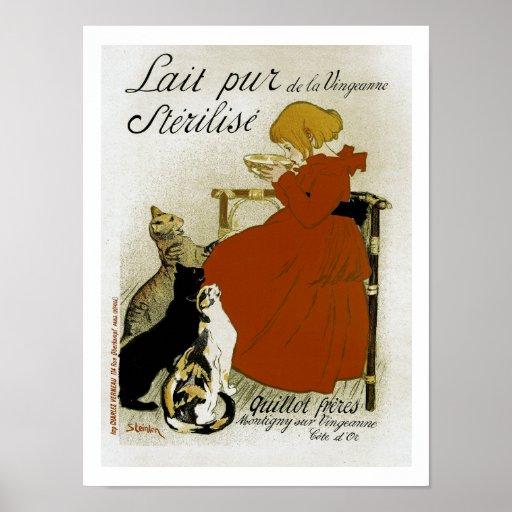 Anúncio francês do leite do vintage poster