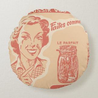 Anúncio francês do vintage para frascos de almofada redonda