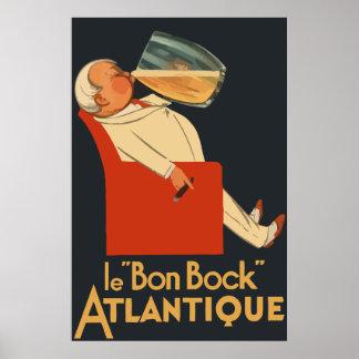 Anúncio francês retro Le Bon Cerveja preta forte Pôster