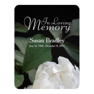 Anúncio fúnebre memorável da peônia branca convite 10.79 x 13.97cm