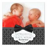 Anúncio gêmeo do nascimento da foto do bebé do convite
