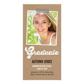 Anúncio gravado da graduação cartão com foto