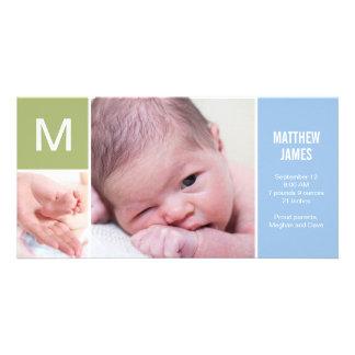 Anúncio inicial do nascimento do bebê - azul cartão com foto personalizado