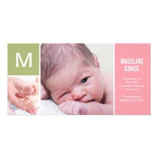 Anúncio inicial do nascimento do bebê - rosa cartao com fotos personalizado