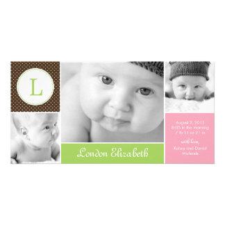 Anúncio inicial moderno do nascimento do bebé cartoes com fotos