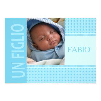 Anúncio italiano do nascimento do bebé convite 12.7 x 17.78cm
