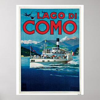 Anúncio italiano do viagem do lago Como do vintage Poster