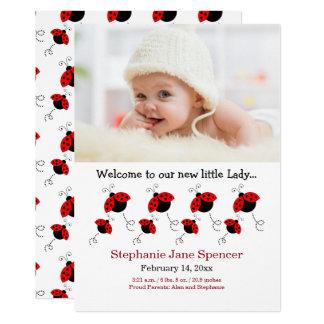 Anúncio lunático do nascimento da foto do joaninha convite 12.7 x 17.78cm