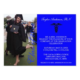 Anúncio médico azul da graduação da escola do RN Convite 12.7 X 17.78cm