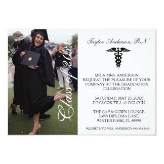 Anúncio médico da graduação da escola do RN Convite 12.7 X 17.78cm