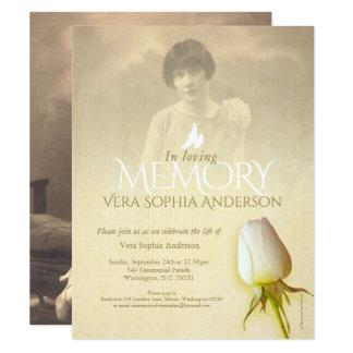 Anúncio memorável do funeral do botão do rosa convite 10.79 x 13.97cm