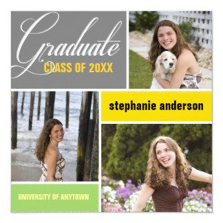 Anúncio moderno da graduação da foto convite quadrado 13.35 x 13.35cm