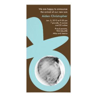 Anúncio moderno do bebê - Pacifier azul Cartão Com Foto