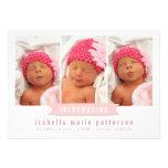 Anúncio moderno do nascimento da foto do bebé da b convite personalizados