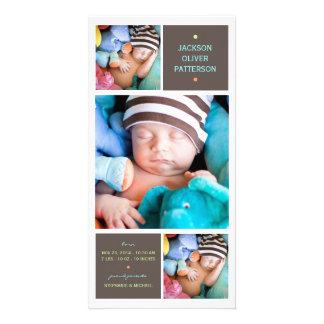 Anúncio moderno do nascimento do bebé da foto do t cartoes com fotos personalizados