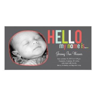 Anúncio moderno do nascimento do bebê da introduçã cartao com foto personalizado