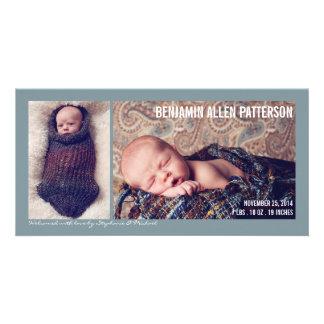 Anúncio moderno do nascimento do bebé de duas foto cartao com fotos personalizado