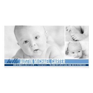 Anúncio moderno do nascimento do bebé dos tons cartoes com fotos
