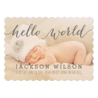 Anúncio moderno escrito à mão da foto do nasciment