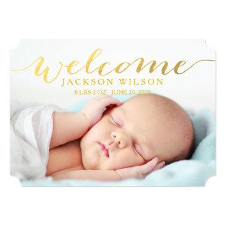 Anúncio moderno simples da foto do nascimento do convite 12.7 x 17.78cm