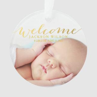 Anúncio moderno simples da foto do nascimento do ornamento