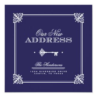 Anúncio movente chave elegante convite quadrado 13.35 x 13.35cm