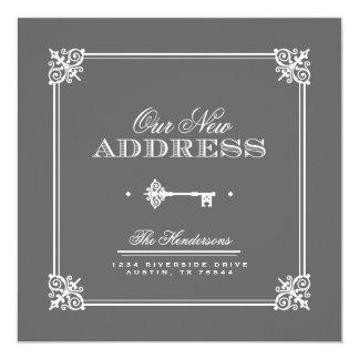 Anúncio movente chave elegante convites personalizado