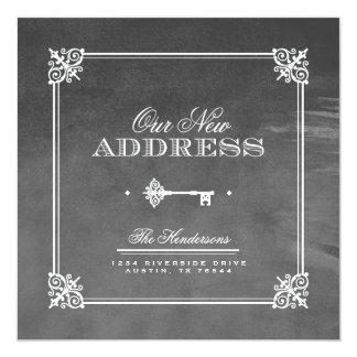 Anúncio movente chave elegante da aguarela convite quadrado 13.35 x 13.35cm