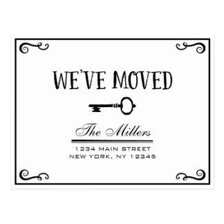 Anúncio movente chave preto e branco elegante cartão postal