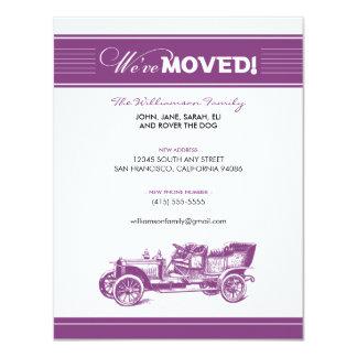 Anúncio movente da família do carro antigo (roxo) convite 10.79 x 13.97cm