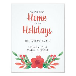 Cartão Anúncio movente floral do Natal da aguarela