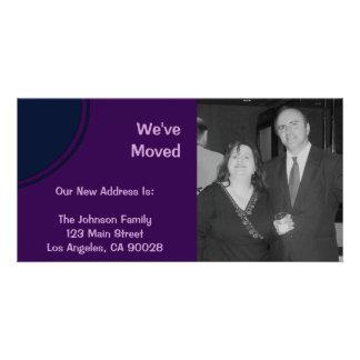 Anúncio movente moderno roxo escuro cartões com foto