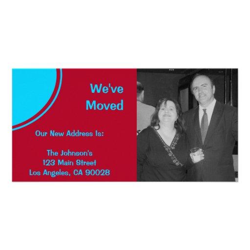 Anúncio movente moderno vermelho de turquesa brilh cartões com fotos personalizados