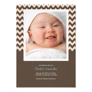 Anúncio na moda do nascimento do bebé de Chevron Convite 12.7 X 17.78cm